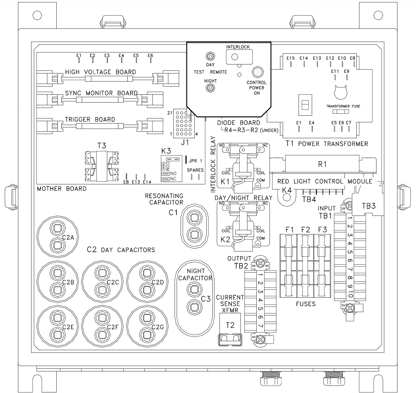 Troubleshooting Guide For Fg3000 Dual Medium Intensity Lighting Daisy Chain Light Fixture Wiring Diagram Figure 1 Power Supply Component Locations